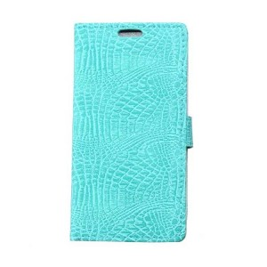 Чехол портмоне подставка текстура Крокодил на силиконовой основе на магнитной защелке для Asus ZenFone 3 5.5 Голубой