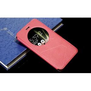 Чехол горизонтальная книжка подставка текстура Линии на силиконовой основе с окном вызова на магнитной защелке для Asus ZenFone 3 5.5 Розовый