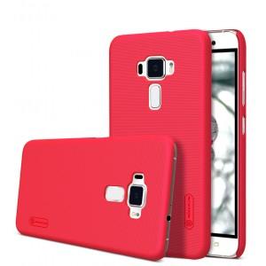 Пластиковый непрозрачный матовый нескользящий премиум чехол для Asus ZenFone 3 5.5 Красный