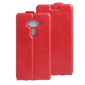 Чехол вертикальная книжка на силиконовой основе с отсеком для карт на магнитной защелке для Asus ZenFone 3 5.5 Красный
