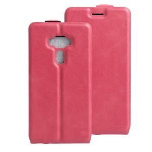 Чехол вертикальная книжка на силиконовой основе с отсеком для карт на магнитной защелке для Asus ZenFone 3 5.5 Пурпурный