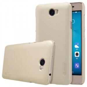 Пластиковый непрозрачный матовый нескользящий премиум чехол для Huawei Honor 5A/Y5 II  Бежевый