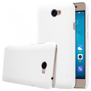 Пластиковый непрозрачный матовый нескользящий премиум чехол для Huawei Honor 5A/Y5 II  Белый