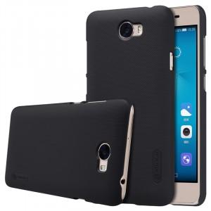 Пластиковый непрозрачный матовый нескользящий премиум чехол для Huawei Honor 5A/Y5 II  Черный
