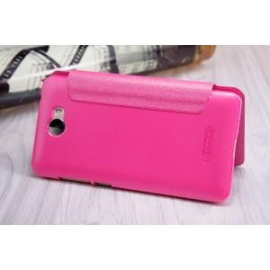 Чехол горизонтальная книжка на пластиковой нескользящей премиум основе для Huawei Honor 5A/Y5 II Розовый