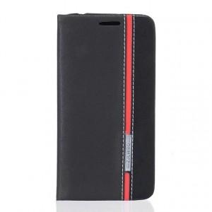 Чехол горизонтальная книжка подставка текстура Линии на силиконовой основе с отсеком для карт для Huawei Honor 5A/Y5 II Черный