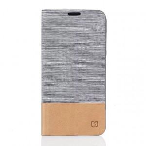 Чехол флип подставка текстура Линии на силиконовой основе с отсеком для карт и тканевым покрытием для Huawei Honor 5A/Y5 II  Белый