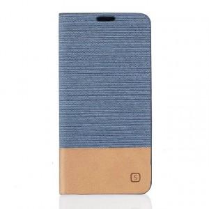 Чехол флип подставка текстура Линии на силиконовой основе с отсеком для карт и тканевым покрытием для Huawei Honor 5A/Y5 II  Голубой