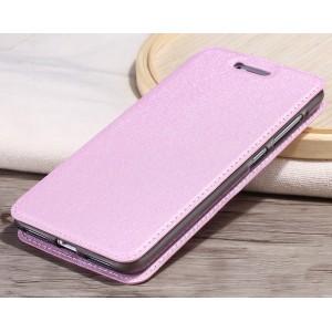 Чехол горизонтальная книжка подставка на силиконовой основе текстура Золото для Huawei Honor 5A/Y5 II Розовый