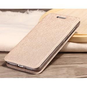 Чехол горизонтальная книжка подставка на силиконовой основе текстура Золото для Huawei Honor 5A/Y5 II Бежевый