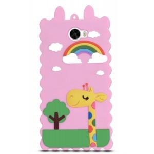 Силиконовый матовый непрозрачный дизайнерский фигурный чехол для Huawei Honor 5A/Y5 II  Розовый