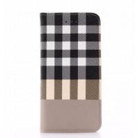 Чехол портмоне подставка текстура Клетка на пластиковой основе для Iphone 7/8 Бежевый