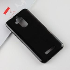 Силиконовый глянцевый полупрозрачный чехол для Asus ZenFone 3 Max  Черный