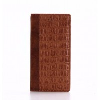 Чехол портмоне подставка текстура Крокодил на пластиковой основе для Iphone 7/8 Коричневый