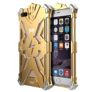 Цельнометаллический противоударный чехол из авиационного алюминия на винтах с мягкой внутренней защитной прослойкой для гаджета с прямым доступом к разъемам для Iphone 7 Plus Бежевый