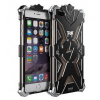 Цельнометаллический противоударный чехол из авиационного алюминия на винтах с мягкой внутренней защитной прослойкой для гаджета с прямым доступом к разъемам для Iphone 7 Plus Черный
