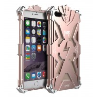 Цельнометаллический противоударный чехол из авиационного алюминия на винтах с мягкой внутренней защитной прослойкой для гаджета с прямым доступом к разъемам для Iphone 7 Plus  Розовый