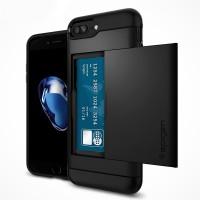 Противоударный двухкомпонентный силиконовый матовый непрозрачный премиум чехол с поликарбонатными вставками экстрим защиты для Iphone 7 Plus  Черный