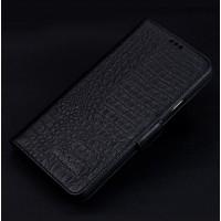 Кожаный чехол портмоне подставка (премиум нат. кожа крокодила) с крепежной застежкой для Iphone 7 Plus  Черный