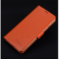 Кожаный чехол портмоне подставка (премиум нат. кожа) с крепежной застежкой для Iphone 7 Plus  Оранжевый
