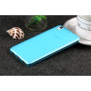 Силиконовый матовый полупрозрачный чехол для Huawei Y6II  Голубой