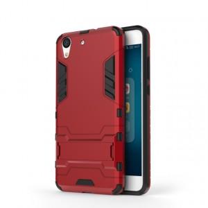 Противоударный двухкомпонентный силиконовый матовый непрозрачный чехол с поликарбонатными вставками экстрим защиты с встроенной ножкой-подставкой для Huawei Y6II Красный