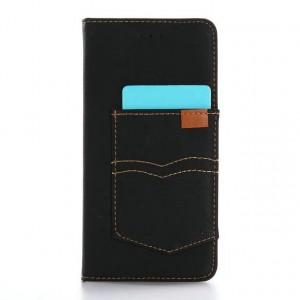 Винтажный чехол портмоне подставка с тканевым покрытием на пластиковой основе на магнитной защелке для Iphone 7 Plus