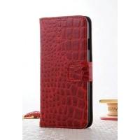 Чехол портмоне подставка текстура Крокодил на пластиковой основе на магнитной защелке для Iphone 7 Plus  Красный