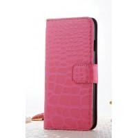 Чехол портмоне подставка текстура Крокодил на пластиковой основе на магнитной защелке для Iphone 7 Plus/8 Plus Розовый