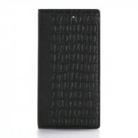 Чехол портмоне подставка текстура Крокодил на пластиковой основе на магнитной защелке для Iphone 7 Plus  Черный