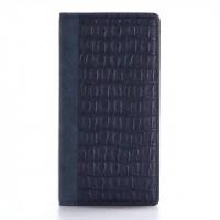 Чехол портмоне подставка текстура Крокодил на пластиковой основе на магнитной защелке для Iphone 7 Plus  Синий