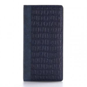 Чехол портмоне подставка текстура Крокодил на пластиковой основе на магнитной защелке для Iphone 7 Plus/8 Plus Синий