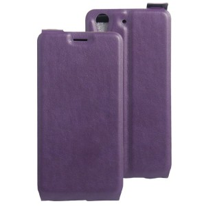 Винтажный чехол вертикальная книжка на силиконовой основе с отсеком для карт на магнитной защелке для Huawei Y6II  Фиолетовый