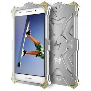 Цельнометаллический противоударный чехол из авиационного алюминия на винтах с мягкой внутренней защитной прослойкой для гаджета с прямым доступом к разъемам для Huawei Y6II