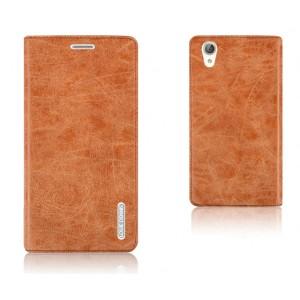 Винтажный чехол горизонтальная книжка подставка на силиконовой основе на присосках для Huawei Y6II  Коричневый