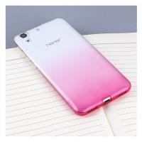 Силиконовый матовый полупрозрачный градиентный чехол для Huawei Y6II  Пурпурный