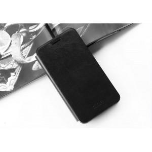 Глянцевый чехол горизонтальная книжка подставка на силиконовой основе для Huawei Y6II  Черный