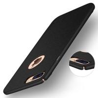 Пластиковый непрозрачный матовый чехол с повышенной шероховатостью для Iphone 7 Plus/8 Plus Черный