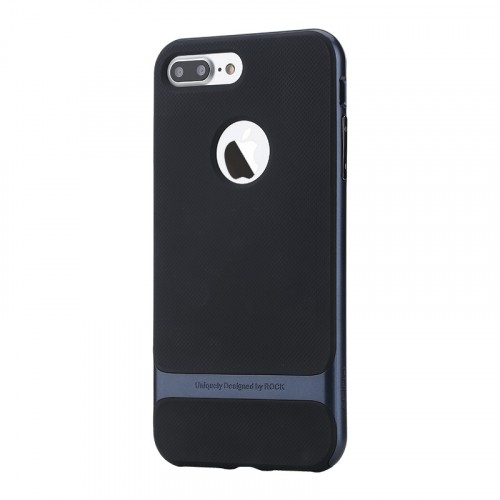 Противоударный двухкомпонентный силиконовый матовый непрозрачный чехол с поликарбонатными вставками экстрим защиты для Iphone 7 Plus/8 Plus Синий