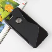 Силиконовый матовый полупрозрачный чехол с дизайнерской текстурой S для Iphone 7 Plus  Черный