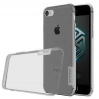 Силиконовый матовый полупрозрачный чехол с улучшенной защитой элементов корпуса (заглушки) для Iphone 7  Серый