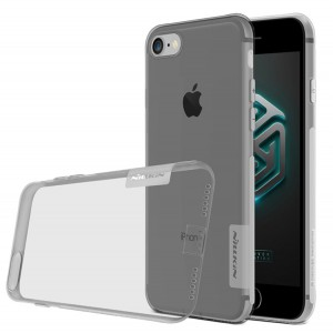 Силиконовый матовый полупрозрачный чехол с улучшенной защитой элементов корпуса (заглушки) для Iphone 7/8 Серый