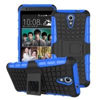 Противоударный двухкомпонентный силиконовый матовый непрозрачный чехол с поликарбонатными вставками экстрим защиты с встроенной ножкой-подставкой для HTC Desire 620  Синий