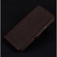 Кожаный чехол портмоне подставка (премиум нат. кожа) с крепежной застежкой для Iphone 7/8 Коричневый