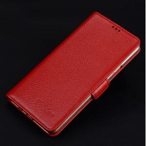 Кожаный чехол портмоне подставка (премиум нат. кожа) с крепежной застежкой для Iphone 7/8 Красный