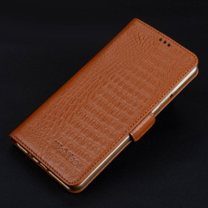 Кожаный чехол портмоне подставка (премиум нат. кожа крокодила) с крепежной застежкой для Iphone 7/8 Бежевый