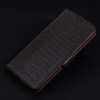 Кожаный чехол портмоне подставка (премиум нат. кожа крокодила) с крепежной застежкой для Iphone 7/8 Коричневый