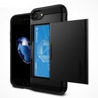 Противоударный двухкомпонентный силиконовый матовый непрозрачный чехол с поликарбонатными вставками экстрим защиты и отсеком для карт для Iphone 7  Черный