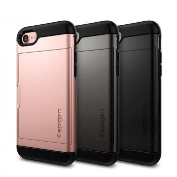 Противоударный двухкомпонентный силиконовый матовый непрозрачный чехол с поликарбонатными вставками экстрим защиты и отсеком для карт для Iphone 7