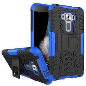 Противоударный двухкомпонентный силиконовый матовый непрозрачный чехол с поликарбонатными вставками экстрим защиты с встроенной ножкой-подставкой для Asus ZenFone 3 5.2  Синий